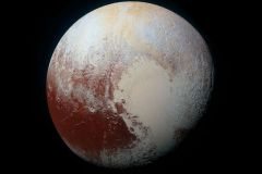 Left lobe of Pluto's distinctive heart is called Sputnik Planitia, covered with craterless plains of frozen nitrogen that vaporize each day (NASA-JHUAPL-SwRI 2020)