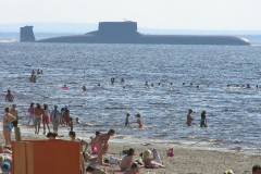 Typhoon SSBN that the Russian service called Project-941 Akula, at the beach